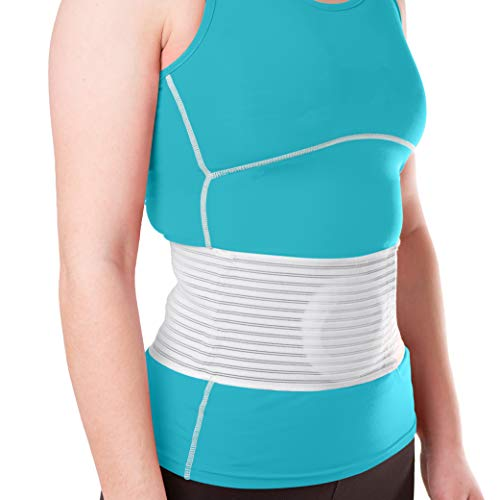 BraceAbility Hernia Belt for Men & Women | Stomach Truss Binder with Compression Support Pad for Abdominal, Umbilical, Navel & Belly Button Hernias - S/M (New & Improved) Fits 28'-40'