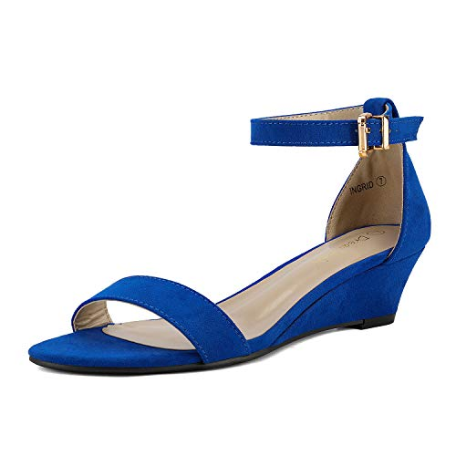DREAM PAIRS Women's Ingrid Royal Blue Ankle Strap Low Wedge Sandals - 8 M US
