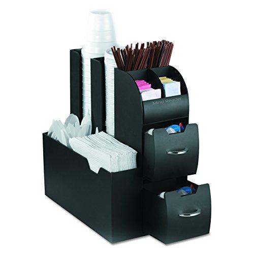 Mind Reader Coffee Upright condiment organizer, 6 x 12 x 12, Black