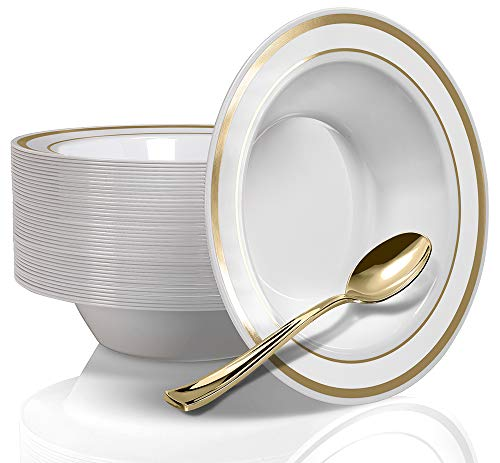 Stock Your Home 12 Oz Fancy Disposable Dinner Bowls for Holidays, Parties, Weddings, Catering, 50 Bowls and 50 Spoons (Gold)