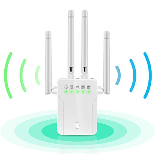 WiFi Extender - 1200Mbps 2.4 & 5GHz Dual Band WiFi Booster With Ethernet Port 4 Antennas WiFi Range Extender 360° Full Coverage WiFi Repeater Internet Booster,Extend WiFi Signal to Smart Home Devices