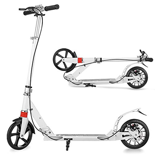 OUTCAMER Scooter for Adults Big Wheel Scooter Folding Design Kick Scooter with Adjustable Height Support 220lbs (White)