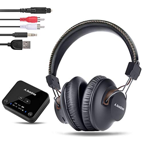 Avantree HT4189 40 Hrs Wireless Headphones for TV Watching w/Bluetooth Transmitter (Digital Optical Aux RCA Pc USB), Rechargeable Hearing Headset, Plug n Play, No Audio Delay, 100ft Wireless Range