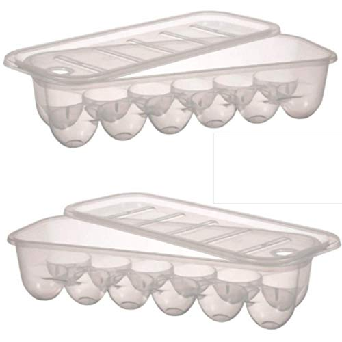 Plastic Egg Holder - Egg Tray For Refrigerator (2 Pack) Perfect For Keeping Eggs Fresh Safe and Ready to Enjoy - Stackable Egg Organizer With Lid - Eggs Dispenser