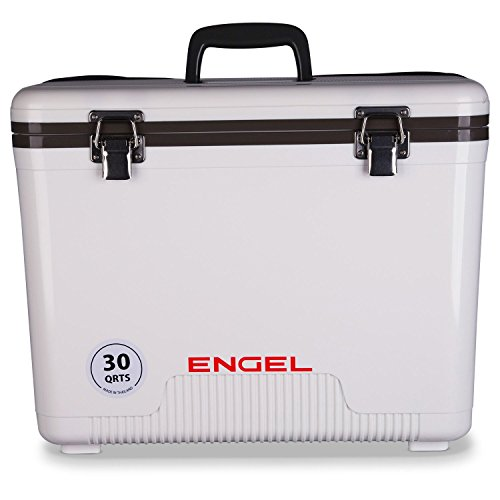 Engel 30-Quart 48 Can Portable Leak-Proof Compact Lightweight Insulated Airtight Hard Drybox Cooler for Fishing, Hunting, and Camping, White
