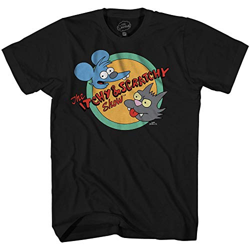 The Simpsons Itchy and Scratchy Show Logo Comedy Classic Cartoon Adult Mens Graphic T-Shirt (Black, XXX-Large)