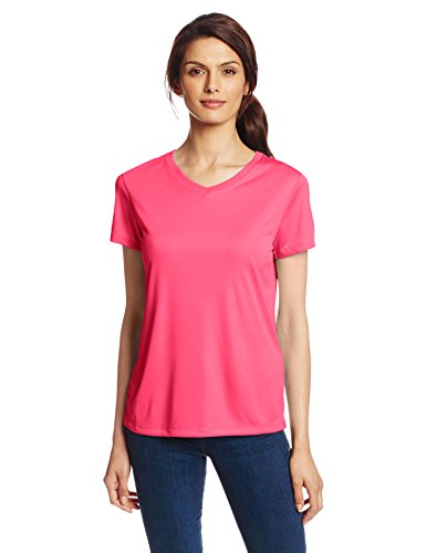 Hanes Sport Women's Cool DRI Performance V-Neck Tee,Wow Pink,XX-Large