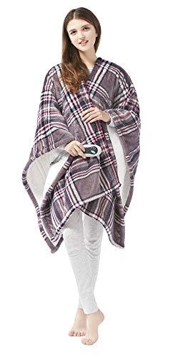 Beautyrest Ultra Soft Sherpa Berber Fleece Electric Poncho Wrap Blanket Heated Throw with Auto Shutoff, 50' W x 64' L, Grey Plaid