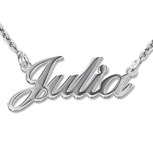 MyNameNecklace Personalized Classic Name Necklace -Custom Made Nameplate Pendant Christmas Jewelry Gift for Women(18, Sterling Silver)