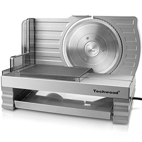 Meat Slicer, Electric Deli Food Slicer with Removable Stainless Steel Blade, Food Pusher, Adjustable Thickness Slicer Machine Precisely for Cheese Bread Fruit, Safe for Household Commercial Use