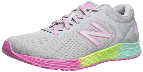 New Balance Kid's Fresh Foam Arishi V2 Lace-Up Running Shoe, Light Aluminum/Rainbow, 5 M US Big Kid