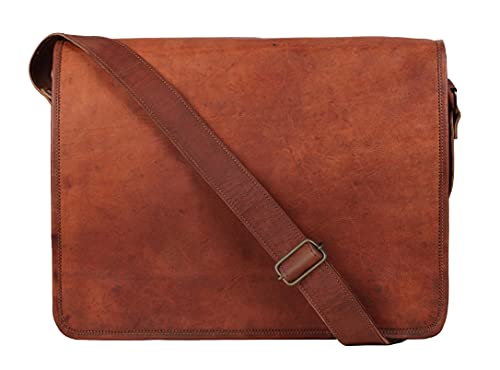 Rustic Town 11 inch (Small) Vintage Crossbody Shoulder Genuine Leather iPad/Tablet Messenger Bag (For 10.5 inch iPad Pro, Brown)