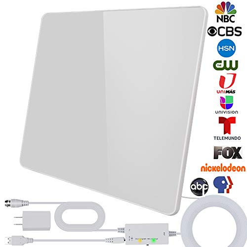 [2020 Newest] HDTV Antenna,Indoor Digital Antenna 180 Miles Range Support 4K 1080P VHF UHF&Older TV's Digital Antenna with Amplifier Signal Booster,17ft Coax Cable/USB Power Adapter (White)