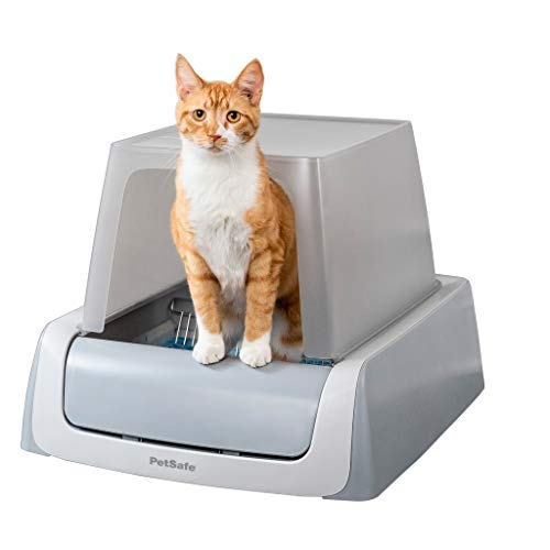 PetSafe ScoopFree Automatic Self Cleaning Covered Cat Litter Box – Includes Disposable Trays with Crystal Litter & Hood - 2ND Generation, Gray (PAL00-16806)