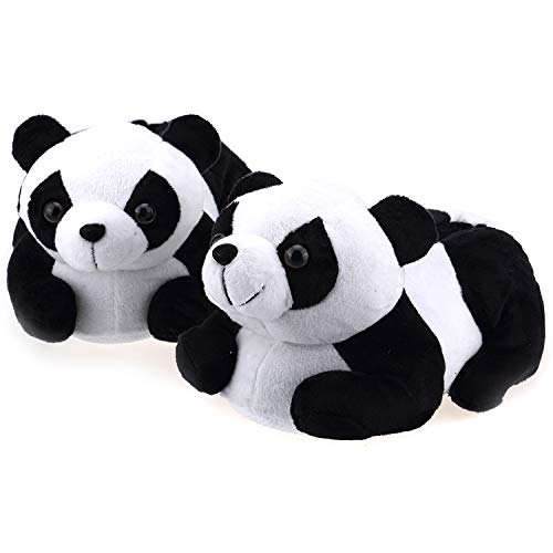 Onmygogo Indoor Fuzzy Winter Animal Panda Plush Slippers for Adult Women and Men (US Little Kid Size 12-1, Black and White)