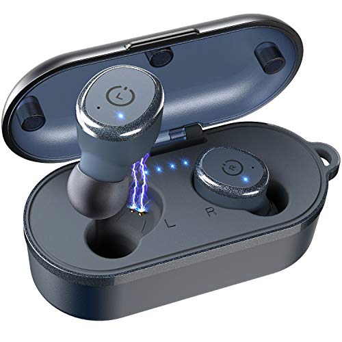 TOZO T10 Bluetooth 5.0 Wireless Earbuds with Wireless Charging Case IPX8 Waterproof TWS Stereo Headphones in Ear Built in Mic Headset Premium Sound with Deep Bass for Sport Blue