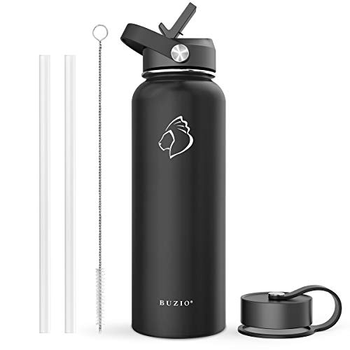 BUZIO Stainless Steel Water Bottle (Cold for 48 Hrs, Hot for 24 Hrs), 40 oz Vacuum Insulated Water Bottle with Straw Lid and Flex Cap (Double Wall, Wide Mouth, BPA Free, Leak Proof, Sweat Free), Black