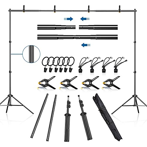FUDESY Backdrop Stand 7x10Ft Adjustable Photography Background Support System Kit for Photo Video Studio with Carry Bag,Spring Clamps