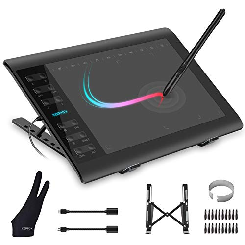 XOPPOX Graphics Drawing Tablet 10 x 6 Inch Large Active Area with 8192 Levels Battery-Free Pen and 12 Hot Keys, Compatible with PC/Mac/Android OS for Painting, Design & Online Teaching