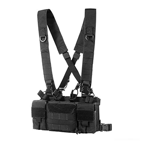 OneTigris Tactical Chest Rig with 5.56/7.62 Rifle Mag Pouches Pistol Mag Pouches and X Harness for Airsoft Shooting Wargame Paintball (Solid Black)