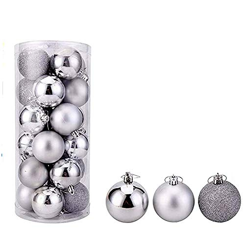feng biao Christmas Ball Pendant, Decorative Shatterproof Christmas Tree Pendants Hanging 40mm Christmas Baubles Balls Ornaments Set Pack of 24 pcs (Silver)