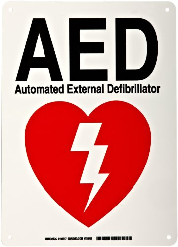 Brady 102717 10' Width x 14' Height B-401 Plastic, Red on White AED Sign, Legend 'AED Automated External Defibrillator'