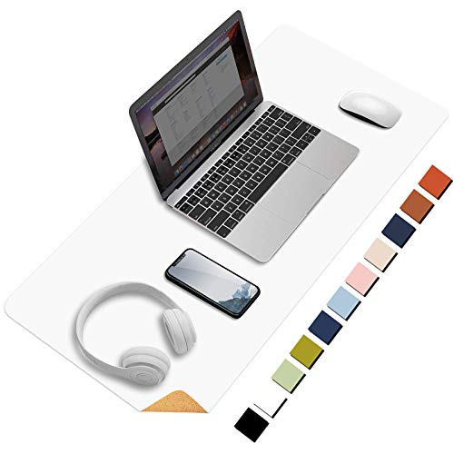 HOMIEAZICOZI Large Natural Cork & Leather Desk Pad,Double-Sided Desk Protector ,Waterproof Keyboard Mouse Pad for Office/Home/Gaming/Decor(White,36'x 17' )