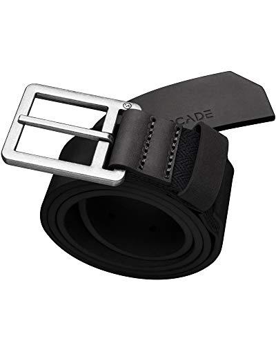 Arcade Belt Mens Leather Padre Belts: Hidden Stretch, Alloy Buckle, Black, L