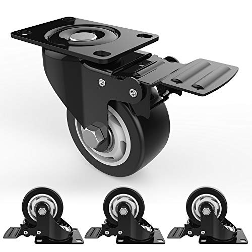 3' Swivel Caster Wheels with Safety Dual Locking and Polyurethane Foam No Noise Wheels, Heavy Duty - 250 Lbs Per Caster (Pack of 4)