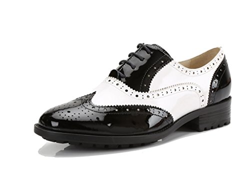 U-lite Womens Black White Perforated Lace-up Wingtip Leather Flat Oxfords Vintage Oxford Shoes bw 7