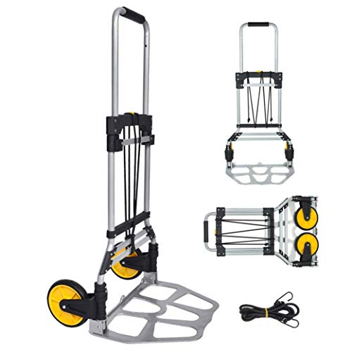 FULLWATT 264 Lb Capacity Folding Hand Truck and Dolly Cart Aluminum Portable Folding Hand Cart with Telescoping Handle and Rubber Wheels