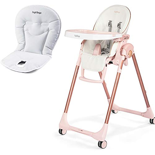 Peg Perego Prima Pappa Zero 3 High Chair, Mon Amour with Booster Cushion Bundle