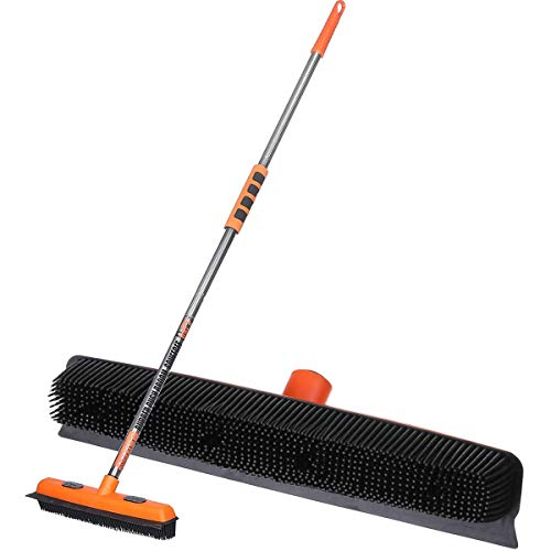 MATCC Rubber Broom Carpet Rake Pet Dog Cat Hair Remover Broom Soft Rubber Bristles Sweeper Removal Push Brush Broom with Squeegee Edge & Clip Cloth Brush Head 3in1 Broom for Household Floor Cleaning