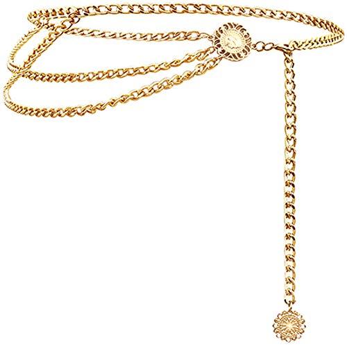 Glamorstar Multilayer Metal Waist Chain Dress Belts Metal Belt for Women Gold 110CM/43.3IN
