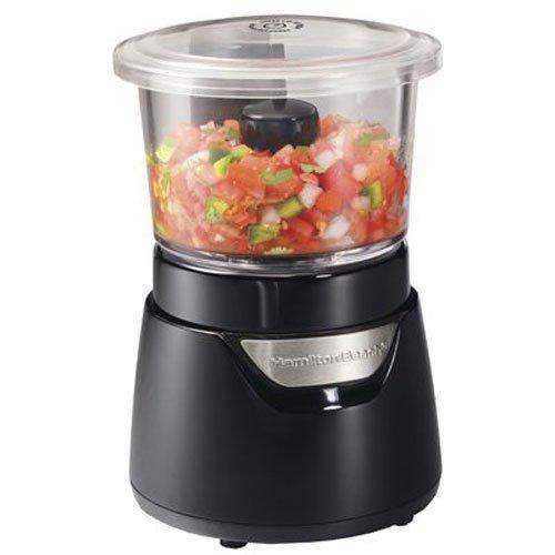 Hamilton Beach Stack & Press Mini 3-Cup Glass Bowl Food Processor & Vegetable Chopper, Black (72860)