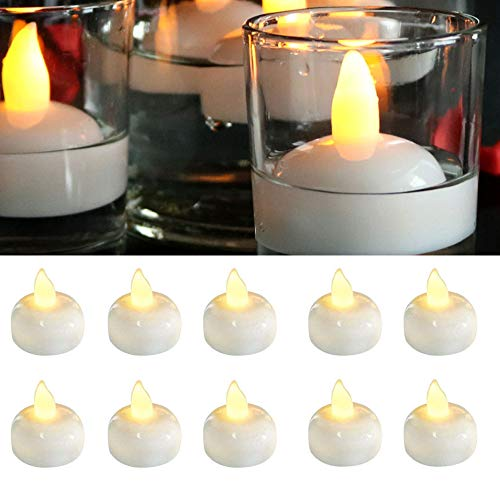 Waterproof Flameless Floating LED Candles,24 Pack Floating Tealights,Pool Lights,Warm White Battery Flickering LED Tea Lights Candles - Centerpiece,Wedding,Party,Pool & SPA
