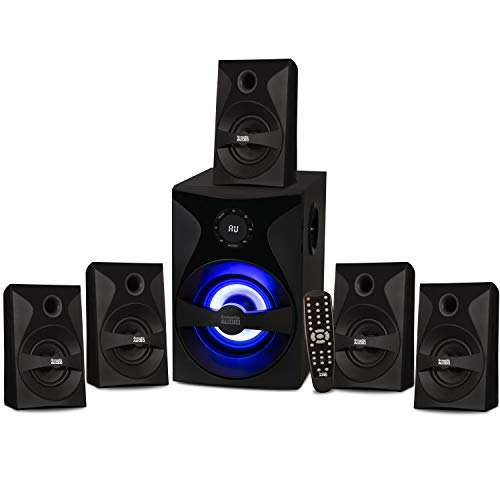 Acoustic Audio by Goldwood Bluetooth 5.1 Surround Sound System with LED Light Display, FM Tuner, USB and SD Card Inputs - 6-Piece Home Theater Speaker Set, Includes Remote Control - AA5400 Black
