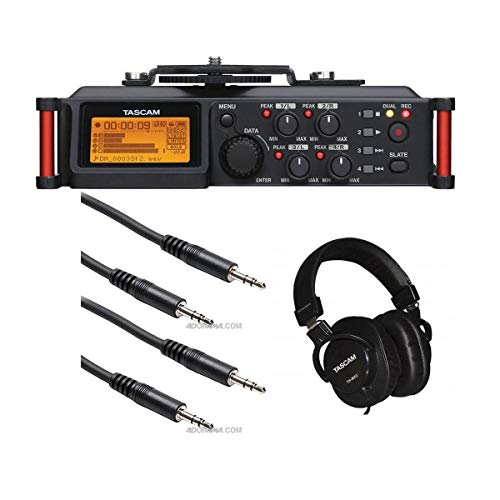 Tascam DR-70D 4-Channel Audio Recorder for DSLR Cameras, Bundle TH-MX2 Mixing Over-Ear Headphones, 2 Pack 5ft Stereo Mini, Stereo Mini Male 3.5mm TRS Cable