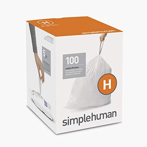 simplehuman Code H Custom Fit Drawstring Trash Bags, 30-35 Liter / 8-9 Gallon, White, 100 Count