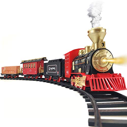 Train Set - 2020 Updated Electric Train Toy for Boys w/ Smokes, Lights &Sound, Railway Kits w/ Steam Locomotive Engine, Cargo Cars & Tracks, Gifts for 3 4 5 6 7 8+ Year Old Kids