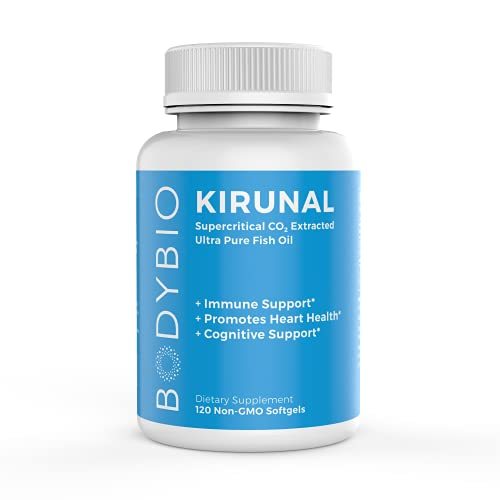 BodyBio- Kirunal Fish Oil, Non-oxidized Omega 3, 3:1 EPA to DHA for Heart and Cognitive Support, Essential Fatty Acid, 120 softgels