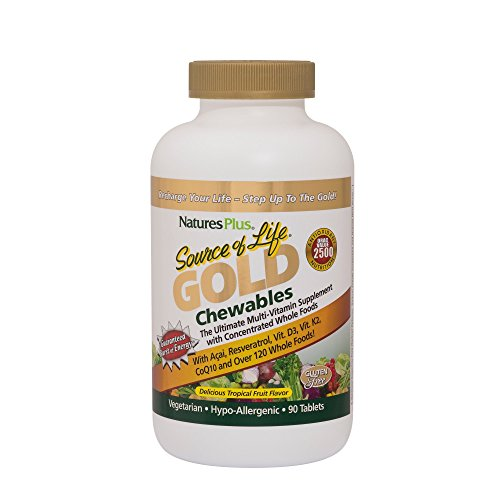 Nature's Plus - Source of Life GOLD Chewables - Tropical Fruit, 90 chewable tablets