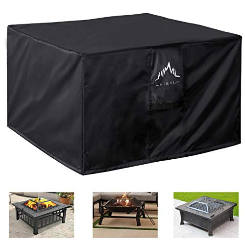 Himal Outdoors Fire Pit Cover - Heavy Duty Waterproof 600D Polyster with Thick PVC Coating, Square Fire Pit Cover, Waterproof, 36 Inch, Black