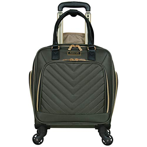 Kenneth Cole Reaction Women's Chelsea Collection 17' Chevron Quilted Softside 4-Wheel Spinner Underseater Carry-On Suitcase, Olive
