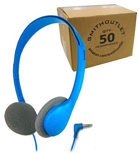 SmithOutlet 50 Pack Bulk Classroom Headphones Blue