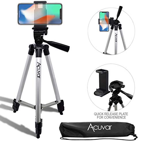 Acuvar 50' Inch Aluminum Camera Tripod with Quick Release + Universal Smartphone Mount for iPhone 11 Pro, 11 Pro Max, Xs, SE 2, Xr, X, 8, 8+, Pixel 3, XL, Android Note 10, S10, S20 & More Smartphones