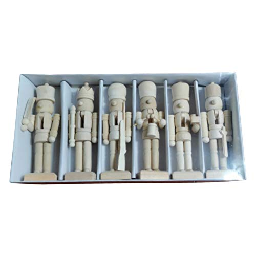 Hankyky Christmas Nutcracker Soldier, 6Pcs Unpainted Wooden Nutcracker Figurines, DIY Nutcrackers - Paint Your Own Nutcracker, Unfinished Wood Crafts Gifts for Kids