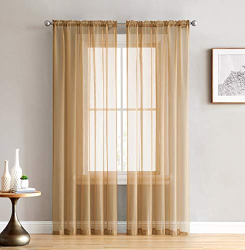 HLC.ME Gold Sheer Voile Window Treatment Rod Pocket Curtain Panels for Bedroom and Living Room (54 x 84 inches Long, Set of 2)