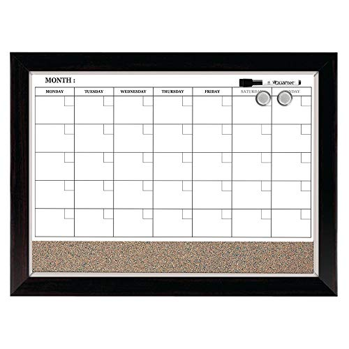 Quartet Combination Magnetic Whiteboard Calendar & Corkboard, 17' x 23' Combo Dry Erase White Board & Cork Bulletin Board, Perfect for Office, Home School Message Board, Wood Frame (22476)