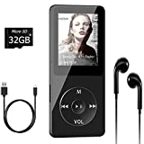 Aigital MP3 Player with 32GB TF Card and Supports Up to 128GB Memory Card, Economic Multi-Functional Mini MP4/MP3 Music Player Adapter, with Video/Photo Viewer/E-Book, FM Radio and Record Function